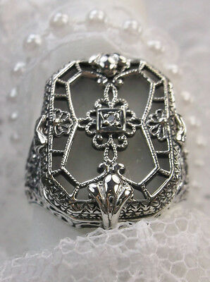 Camphor Glass Solid Sterling Silver Art Deco 1930s Design Filigree Ring Size 9