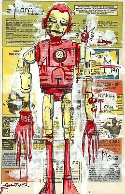 GUS FINK art ORIGINAL painting antique outsider lowbrow book page comic IRON MAN