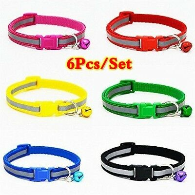6Pcs Safety Reflective Cat Collar Breakaway with Bell for Dog Puppy Cat Kitten