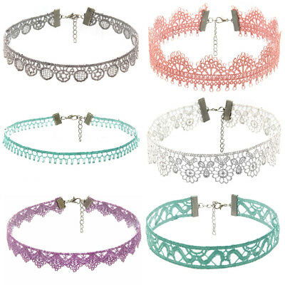 1/6Pieces Choker Necklace Set Stretch Velvet Classic Gothic Tattoo Lace Choker