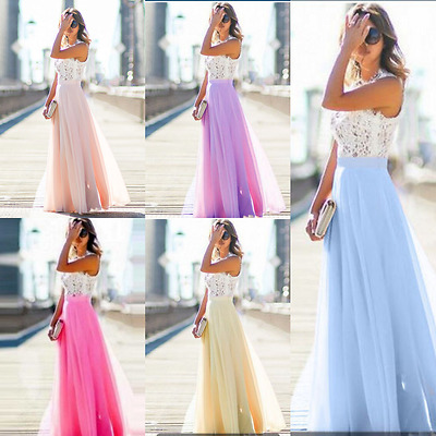 Womens Sleeveless Lace Formal Evening Party Wedding Gown Prom Bridesmaid Dress
