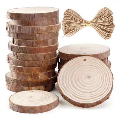 10/24PCS 6-7cm Unfinished Predrilled Wood Slices Round Log Discs With 33 Feet
