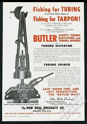 1945 Butler oil well safety tubing elevator tubing spider vintage print ad