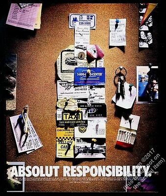 1999 Absolut Responsibility vodka bottle with car service cards vintage print ad