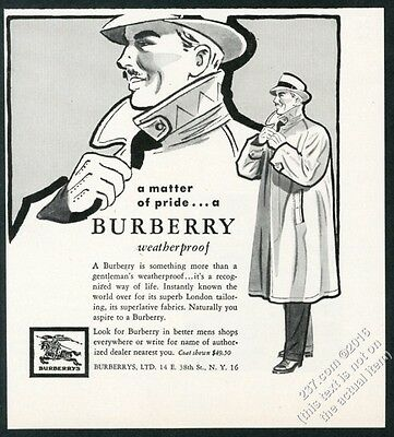 1954 Burberrys man's trenchcoat trench coat illustrated vintage print ad