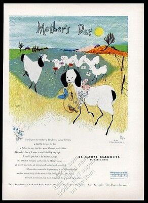 1955 sheep flock Mother's Day cute art St. Mary's Blankets vintage print ad