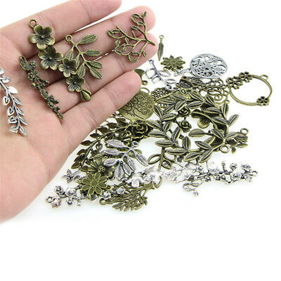 1Set Mixed Leaves Flowers Charm Pendant DIY Jewelry Making Craft Findings JR
