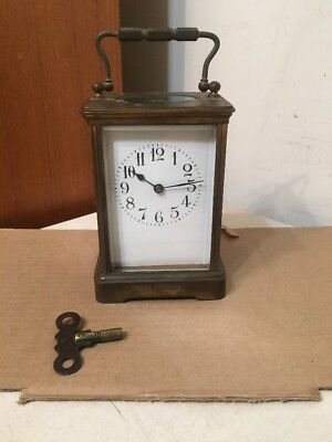 Large Antique French Carriage Clock Time & Strike On Coil