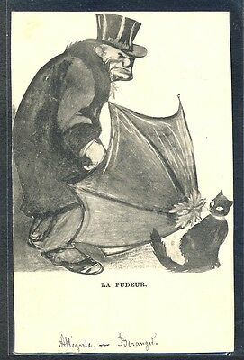 PT147 ALLEGORIE Illustrateur MODESTY MAN UMBRELLA TOP HAT BLACK CAT 1904