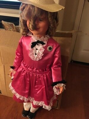 """Vintage 1984 SHIRLEY TEMPLE 33 -34"""" Pink Dress New Pin Tall Big Black Shoes Doll"""