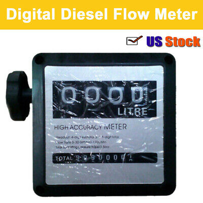 "High Accuracy 4 Digital Gallon 1% 1 "" Diesel Gas Fuel Oil Flow Meter Counter US"