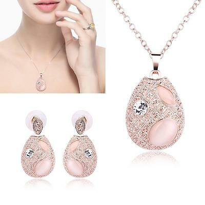 Rose Gold Cute Jewelry Set Opal Crystal Plated Oval Pendant Necklace Earrings GA