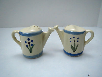 Vintage CORK BOTTOM McCoy Pottery Salt & Pepper Shakers WATERING CAN  Painted