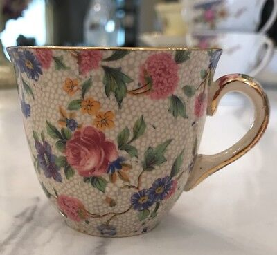 Antique Royal Winton Old Cottage Chintz China Demitasse Cup Grimwades England