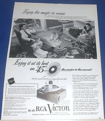 """1950s RCA Victrola """"45"""" phonograph changer Ad record plays from center"""