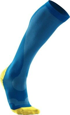 New 2XU Women Performance Compression Run Socks Running Blue Yellow Large PAIR