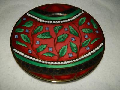 Royal Gallery Gold Buffet Christmas Ball Holly Salad Plate Red Gold Free Ship