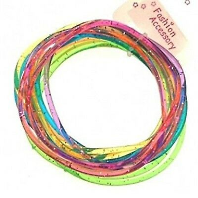 144 Girls Multi-Coloured Glitter Jelly Bangles Bracelets Party Bag Fillers