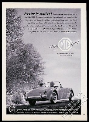 1960 MG MGA 1600 car photo Poetry In Motion vintage print ad
