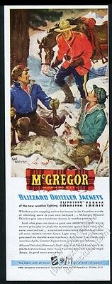 1945 RCMP Mountie and horse wolf trapping art McGregor jacket vintage print ad