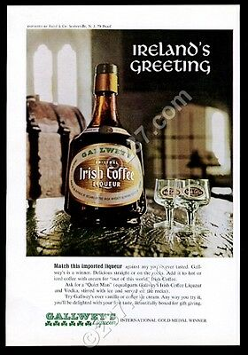 1969 Galwey's Irish Coffee liqueur bottle photo vintage print ad