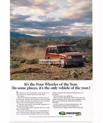1995 LAND ROVER Red  Discovery in Desert Vtg Print Ad