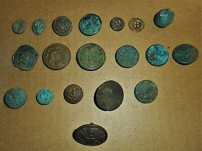 Metal Detected Vintage Buttons Variety. Mostly Military. 2 Colonial, Naval, Air