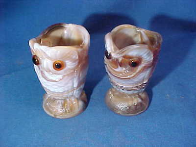 Vintage IMPERIAL GLASS Co CARAMEL Color SLAG GLASS OWLS Figural CREAMER + SUGAR