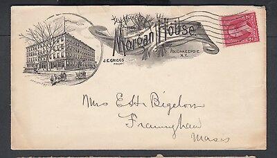 Usa 1899 The Morgan House Hotel Advertising Cover Poughkeepsie New York To Ma