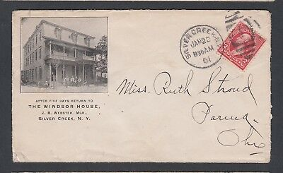Usa 1901 The Windsor House Hotel Advertising Cover Silver Creek New York To Ohio