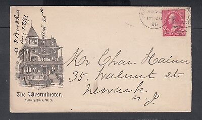 Usa 1896 The Westminster Hotel Advertising Cover Asbury Park New Jersey To Newar