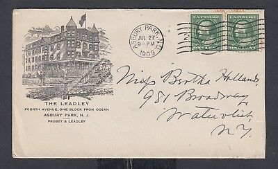 Usa 1909 The Leadley Hotel Advertising Cover Asbury Park New Jersey To New York