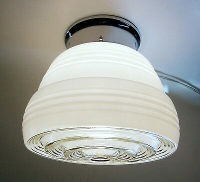 Vintage Art Deco Glass Ceiling Light Fixture Kitchen Hall Entry White and Clear