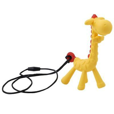 Lovely Baby Teether Necklace Silicone Giraffe Shaped Teething Chewing Ring Toy Z