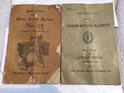 Antique Singer Sewing Machine No.27, No.27-4 Manuals Instruction Booklets