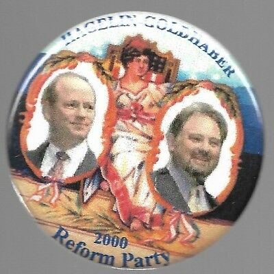 Hagelin And Goldhaber 2000 Reform Party Lady Liberty Political Pin