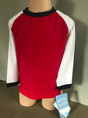 BNWT Boys Size 0 White Soda Brand Red/Navy/White Long Sleeve Rash Vest UPF 50+