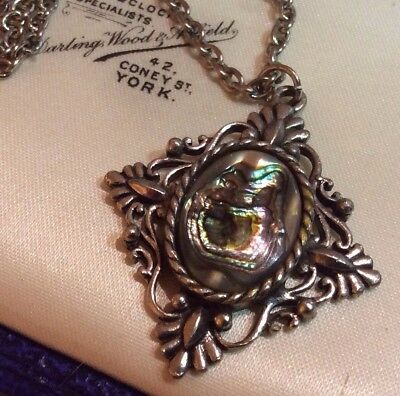 Vintage Jewellery French Antique Rococo Style Silver Abalone Pendant Necklace