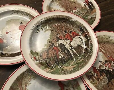 Vtg Wood & Sons Crown Suppliers ENGLAND Plate Lot Set Equestrian Horse Fox Hunt