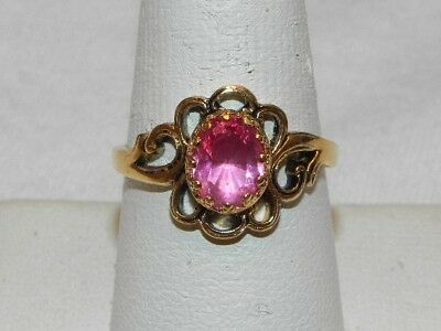 Vintage Oval Pink Glass Gold Tone Filigree Lace Ring sz 8