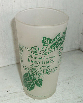 Vintage Federal Glass True Old Style EARLY TIMES Mint Julep Glass Tumbler