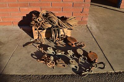 Vintage Lot of Pulleys and Ropes Antique Hardware Stage Play
