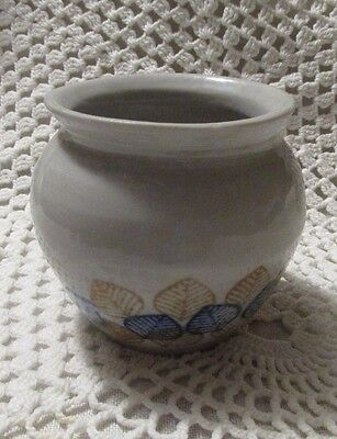 """Handmade Small Pottery Vase or Bowl:  3 1/4"""" Tall, Initialed and Dated"""