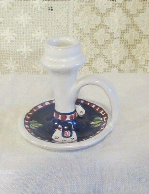 "Giovanni Vietri Hand Painted Pottery Candle Holder:  3 1/2"" Tall"
