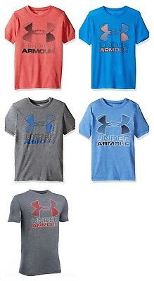 New Under Armour Boys' Big Logo Printed Athletic Shirt XS, S, M, L ,XL