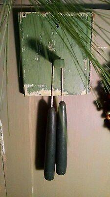 "PRIMITIVE OLD GREEN PAINT PEG HANGER RACK + pr 6"" CANDLES VINTAGE BEADBOARD"