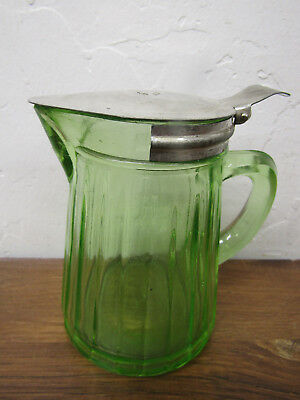 Vintage Green Depression Glass Green Ribbed Small Syrup Pitcher w/Metal Top