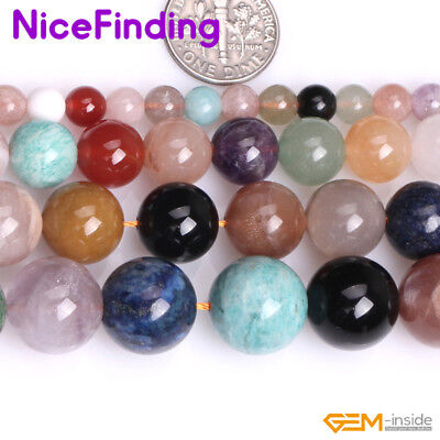 Natural Multi Color Mix Stone Semi Precious Gemstone Beads For Jewelry Making NF