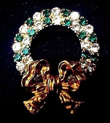 Eisenberg Ice Christmas Wreath Pin Green & Clear Rhinestones Gold Bow vintage