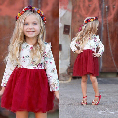 Toddler Kid Baby Girl Floral Dress Long Sleeve Tulle Tutu Princess Dress Outfits